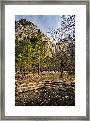 Cathedral Rock And Bridalveil Falls Framed Print by Mike Lee