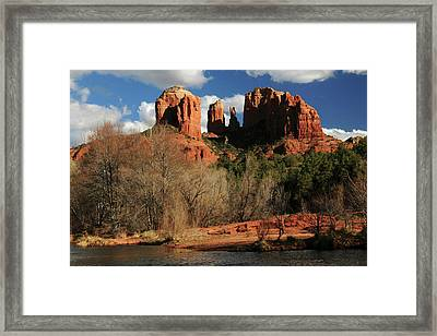 Cathedral Rock At Sunset, Red Rock Framed Print by Michel Hersen