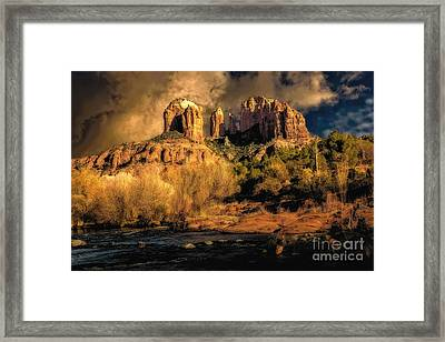 Cathedral Rock Before The Rains Came Framed Print by Jon Burch Photography