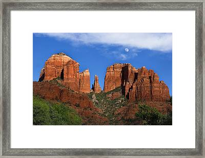 Cathedral Rock Moon Rise Color Framed Print by Dave Dilli