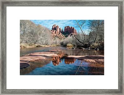 Cathedral Rock Reflection  Sedona Framed Print by Deb Garside
