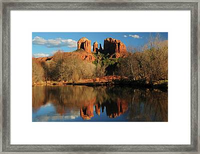 Cathedral Rock Reflections At Sunset Framed Print by Michel Hersen