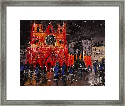 Cathedral Saint Jean-baptiste In Lyon Framed Print by Mona Edulesco