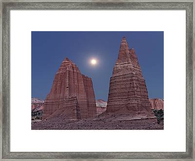 Cathedral Valley Moonrise Framed Print by Leland D Howard