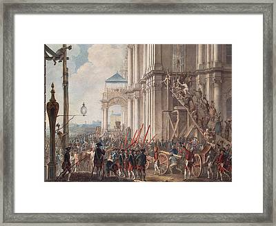 Catherine II On The Balcony Of The Winter Palace, Greeted By Guards And People On The Day Framed Print by I.K Kaestner
