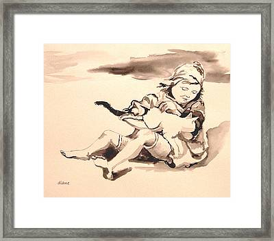 Cathy And Her Cat Framed Print by Diane Kraudelt