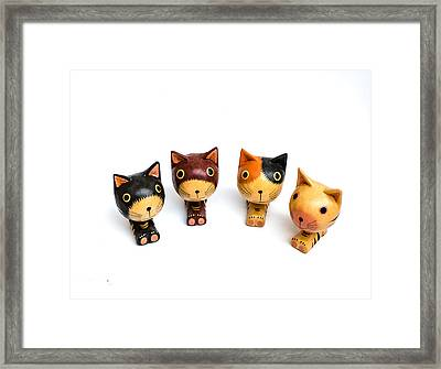Cats Doll Framed Print by Suntasit Fhakthap