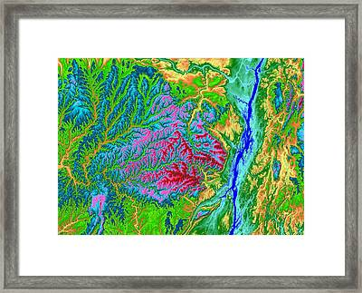 Catskills Map Art Framed Print by Paul Hein