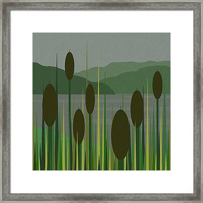 Cattails In The Rain Framed Print by Val Arie