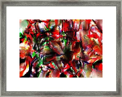 Caught In The Crowd Two Water Color And Pastels Wash Framed Print by Sir Josef Social Critic - ART