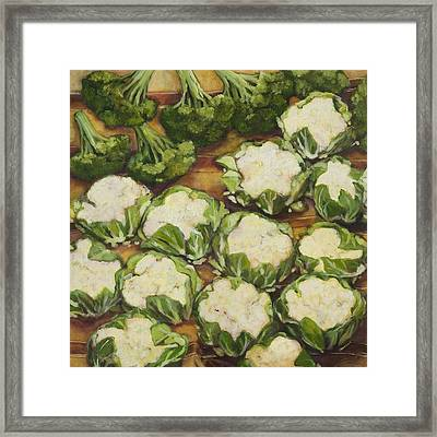 Cauliflower March Framed Print by Jen Norton