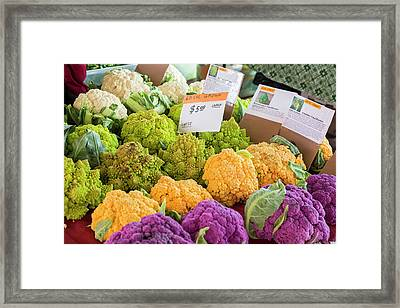 Cauliflower Market Stall Framed Print by Jim West