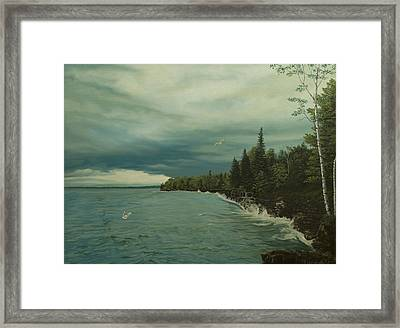 Cave Point Framed Print by James Willoughby III