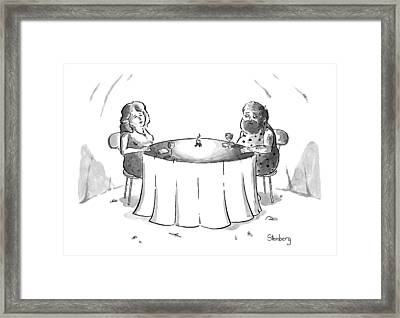 Cavemen On A Date With A Little Fire Framed Print by Avi Steinberg