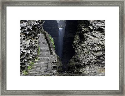 Cavern Cascade Beyond The Stone Stairs Framed Print by Gene Walls