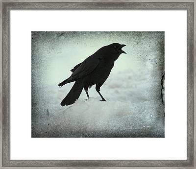 Cawing Winter Crow Framed Print by Gothicolors Donna Snyder