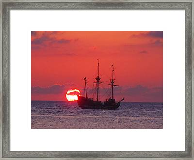 Cayman Sunset Framed Print by Carey Chen
