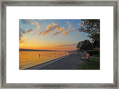 Cazenovia Pier  July Sunset Framed Print by John   Kennedy
