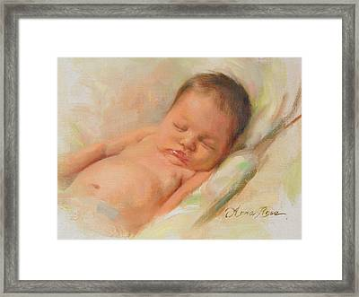 Cece At 2 Months Old Framed Print by Anna Rose Bain