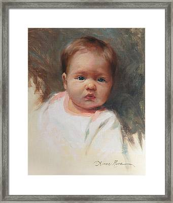 Cece At 4 Months Old Framed Print by Anna Rose Bain