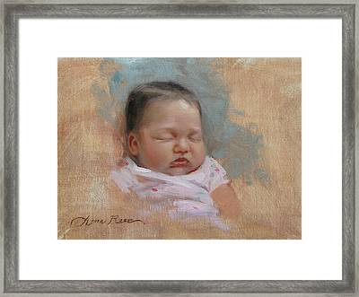 Cece At 5 Weeks Old Framed Print by Anna Rose Bain