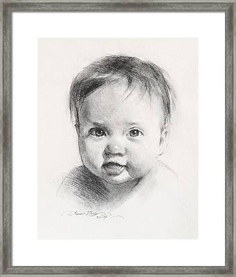Cece At 6 Months Old Framed Print by Anna Rose Bain