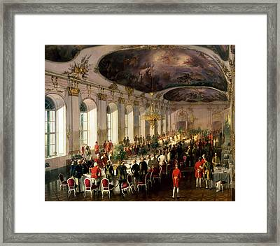 Celebration On The Occasion Of The Anniversary Of The Military Order Of Maria Theresa, 1861 Framed Print by Siegmund L'Allemand