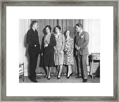 Celebrity Beauty Contest Judge Framed Print by Underwood Archives