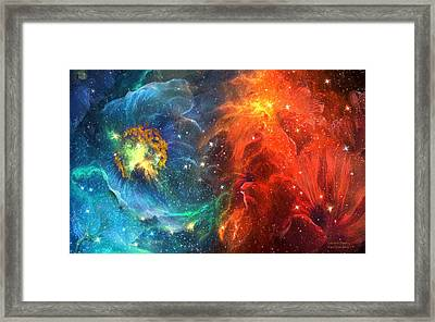 Celestial Poppies - Red And Blue Framed Print by Carol Cavalaris