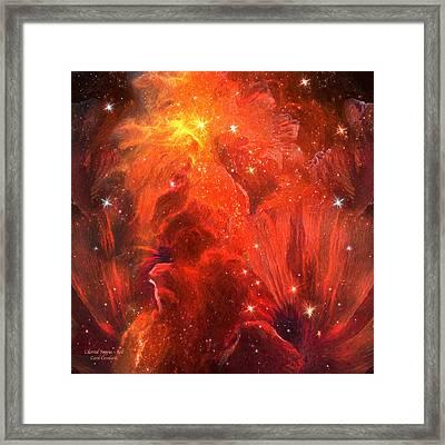 Celestial Poppies - Red Framed Print by Carol Cavalaris