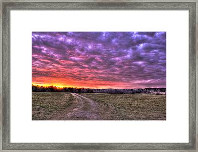Celestial Winter Sunset And The Way Home Framed Print by Reid Callaway