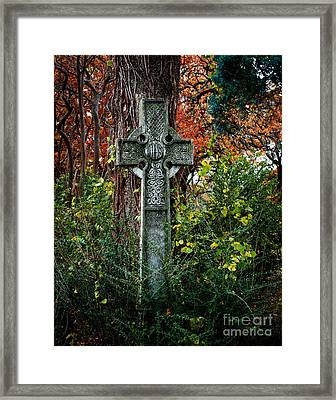 Celtic Cross In Foliage Framed Print by Sonja Quintero