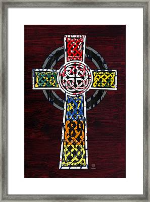 Celtic Cross License Plate Art Recycled Mosaic On Wood Board Framed Print by Design Turnpike