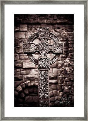 Celtic Cross Lindisfarne Priory Framed Print by Tim Gainey