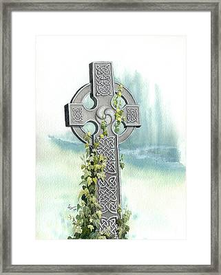 Celtic Cross With Ivy II Framed Print by Lynn Quinn
