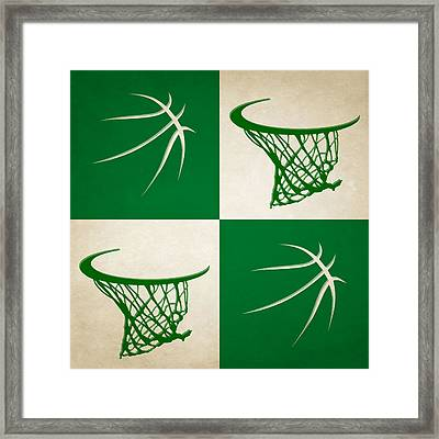 Celtics Ball And Hoop Framed Print by Joe Hamilton