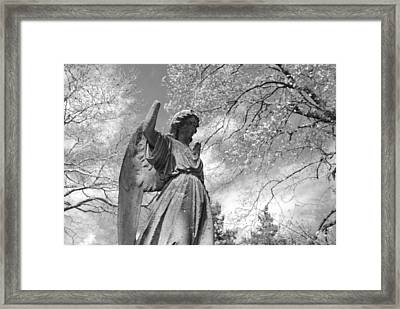 Cemetery Angel Framed Print by Jennifer Lyon