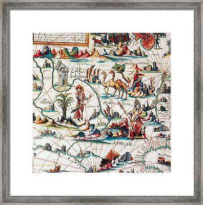 Central Asia Pierre Descelierss Map Framed Print by Photo Researchers