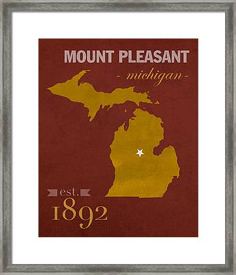 Central Michigan University Chippewas Mount Pleasant College Town State Map Poster Series No 028 Framed Print by Design Turnpike