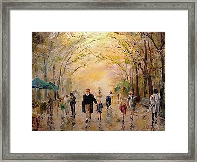 Central Park Early Spring Framed Print by Alan Lakin