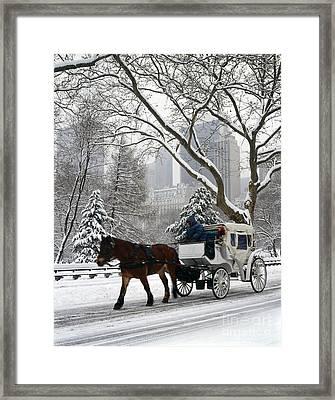 Central Park In Snowfall Framed Print by Rafael Macia
