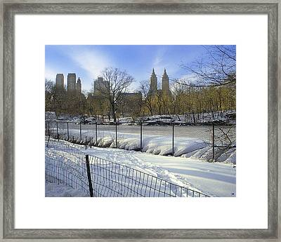 Central Park In Winter 2 Framed Print by Muriel Levison Goodwin
