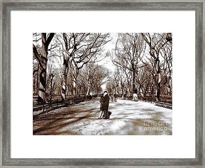 Central Park Kiss Framed Print by John Rizzuto