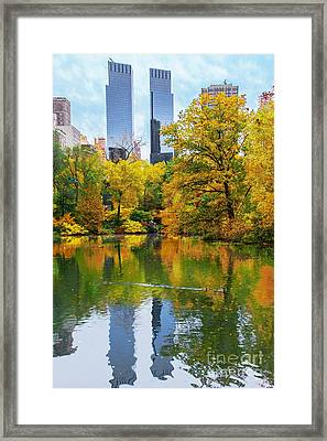 Central Park Pond Autumn Reflections Framed Print by Regina Geoghan