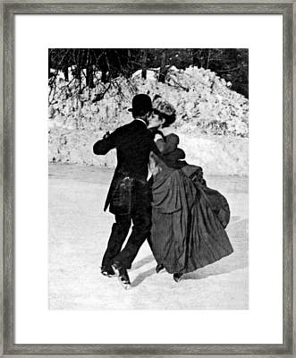 Central Park Victorian Skaters  Framed Print by Underwood Archives