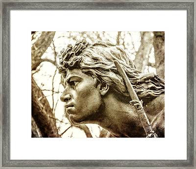 Central Park's Indian Hunter Statue Framed Print by Jon Woodhams