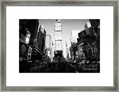 Centre Of Times Square In Daytime New York City Framed Print by Joe Fox