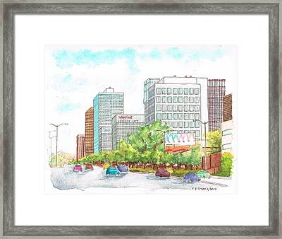 Century City Shopping Mall Skyline - Beverly Hills - California Framed Print by Carlos G Groppa