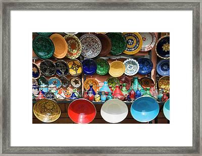 Ceramics For Sale, Souk, Medina Framed Print by Nico Tondini