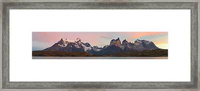 Cerro Paine Grande L And The Cuernos Framed Print by Panoramic Images